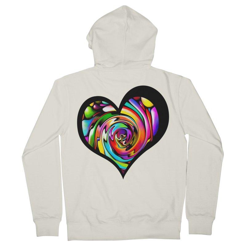 Rainbow Heart Swirl Men's Zip-Up Hoody by Allison Low Art