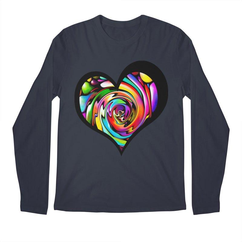 Rainbow Heart Swirl Men's Longsleeve T-Shirt by Allison Low Art