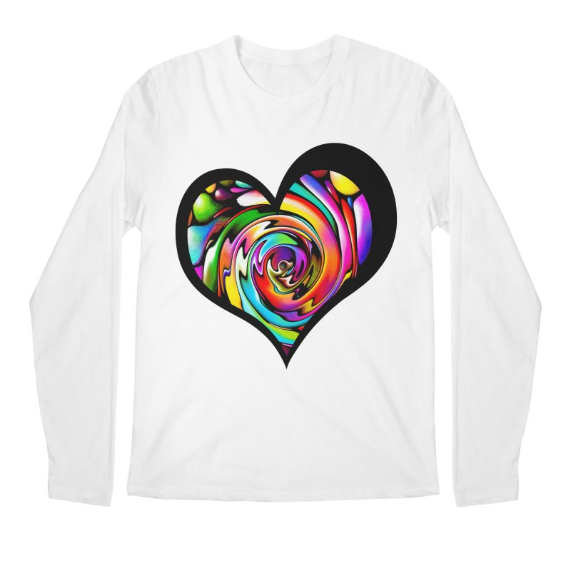 Rainbow Heart Swirl Men's Regular Longsleeve T-Shirt by Allison Low Art