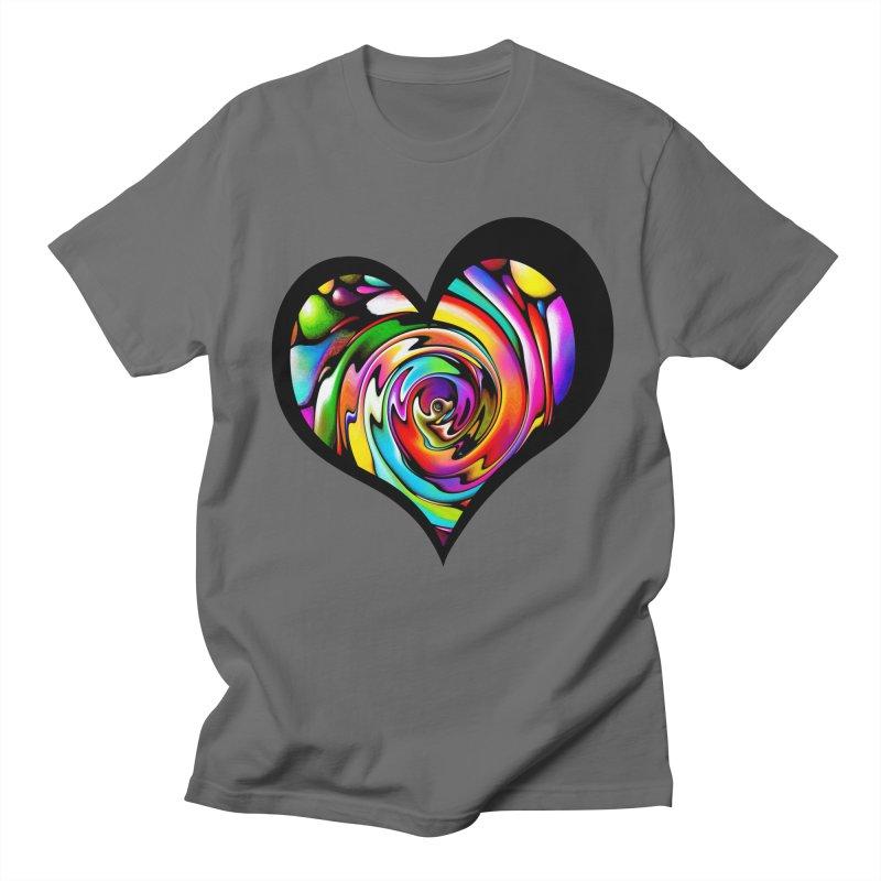Rainbow Heart Swirl Men's Regular T-Shirt by Allison Low Art