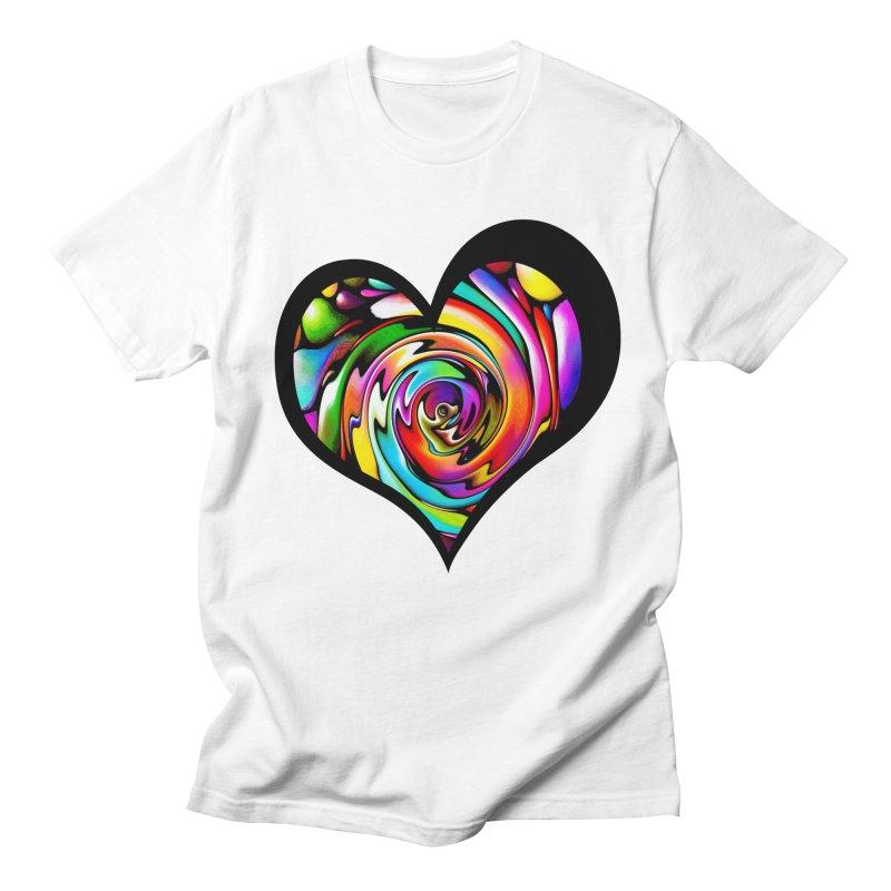 Rainbow Heart Swirl Men's T-Shirt by Allison Low Art