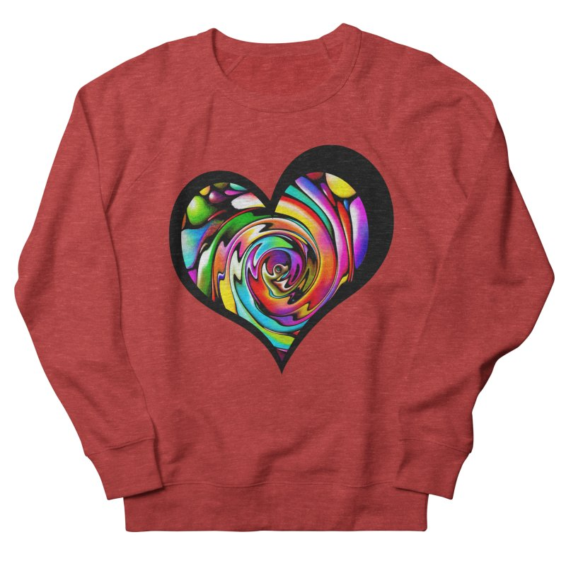 Rainbow Heart Swirl Men's French Terry Sweatshirt by Allison Low Art