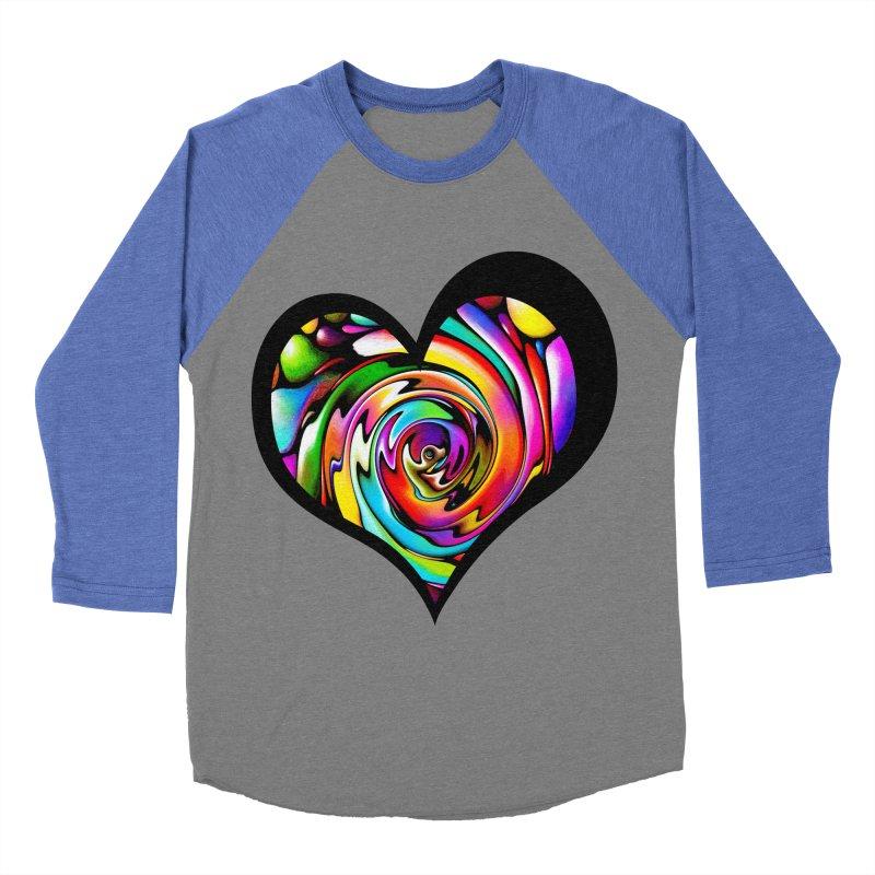 Rainbow Heart Swirl Women's Baseball Triblend T-Shirt by Allison Low Art