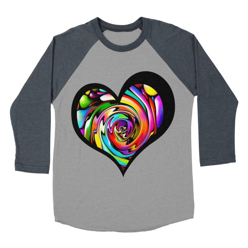 Rainbow Heart Swirl Women's Baseball Triblend T-Shirt by Allison Low Art