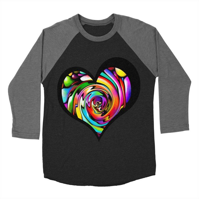 Rainbow Heart Swirl Men's Baseball Triblend T-Shirt by Allison Low Art