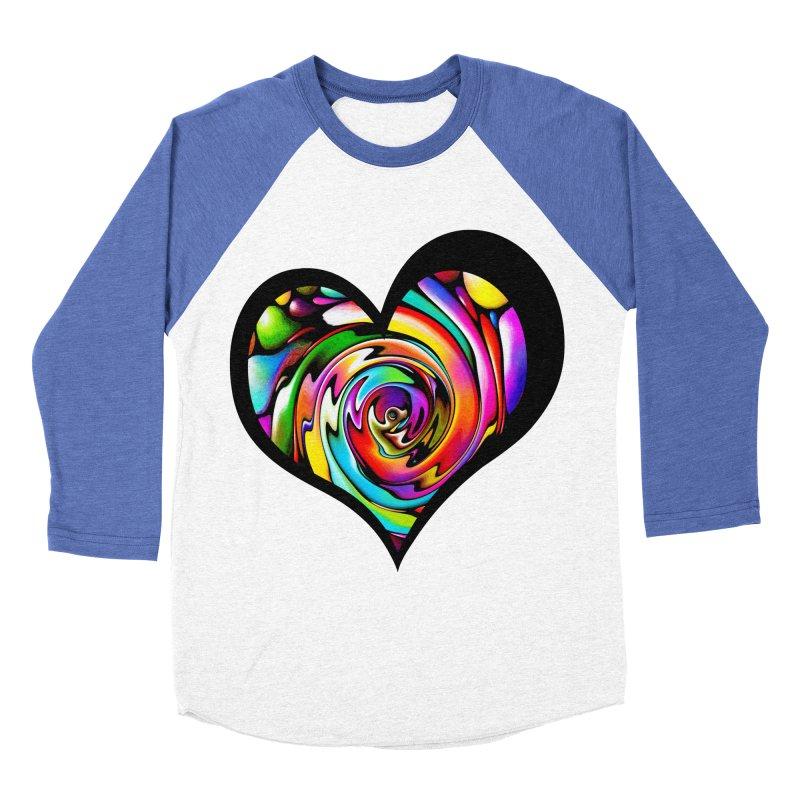 Rainbow Heart Swirl Men's Baseball Triblend Longsleeve T-Shirt by Allison Low Art