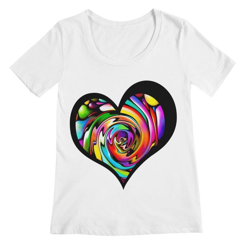Rainbow Heart Swirl Women's Scoopneck by Allison Low Art