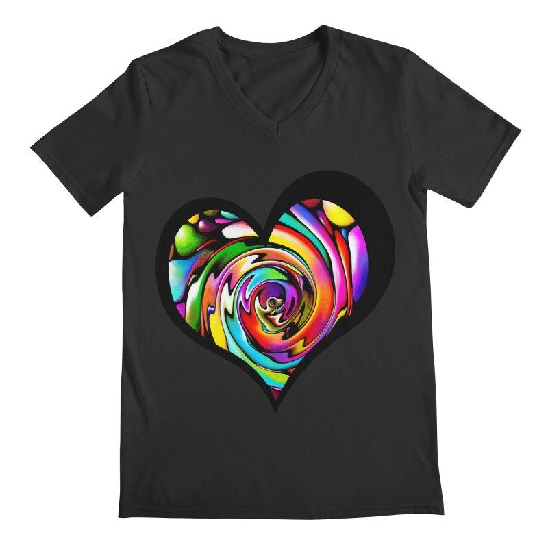 Rainbow Heart Swirl Men's V-Neck by Allison Low Art