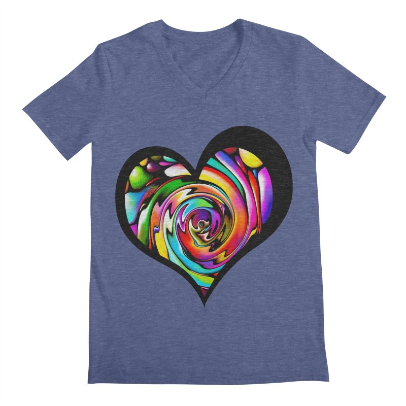 Rainbow Heart Swirl Men's V-Neck by Allison Low Art