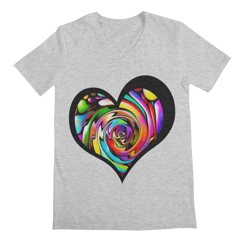Rainbow Heart Swirl Men's Regular V-Neck by Allison Low Art