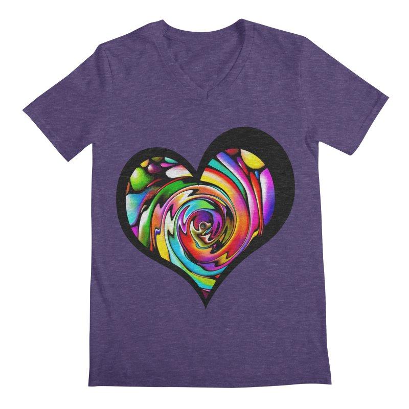 Rainbow Heart Swirl Men's Regular V-Neck by Allison Low Art