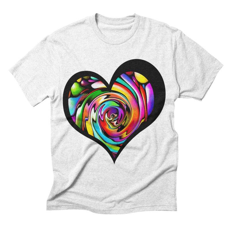 Rainbow Heart Swirl Men's Triblend T-shirt by Allison Low Art