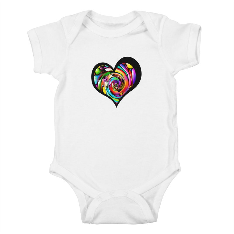 Rainbow Heart Swirl Kids Baby Bodysuit by Allison Low Art