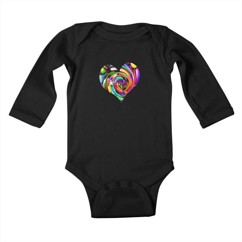 Rainbow Heart Swirl Kids Baby Longsleeve Bodysuit by Allison Low Art