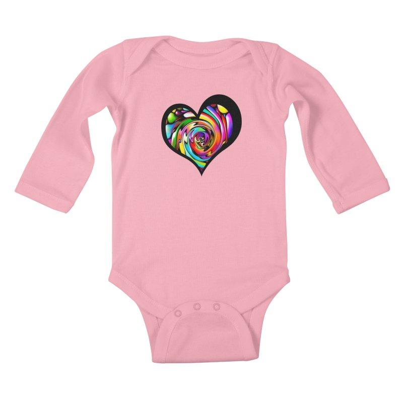 Rainbow Heart Swirl Kids Baby Longsleeve Bodysuit by Allison Low Art