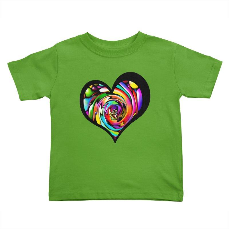 Rainbow Heart Swirl Kids Toddler T-Shirt by Allison Low Art