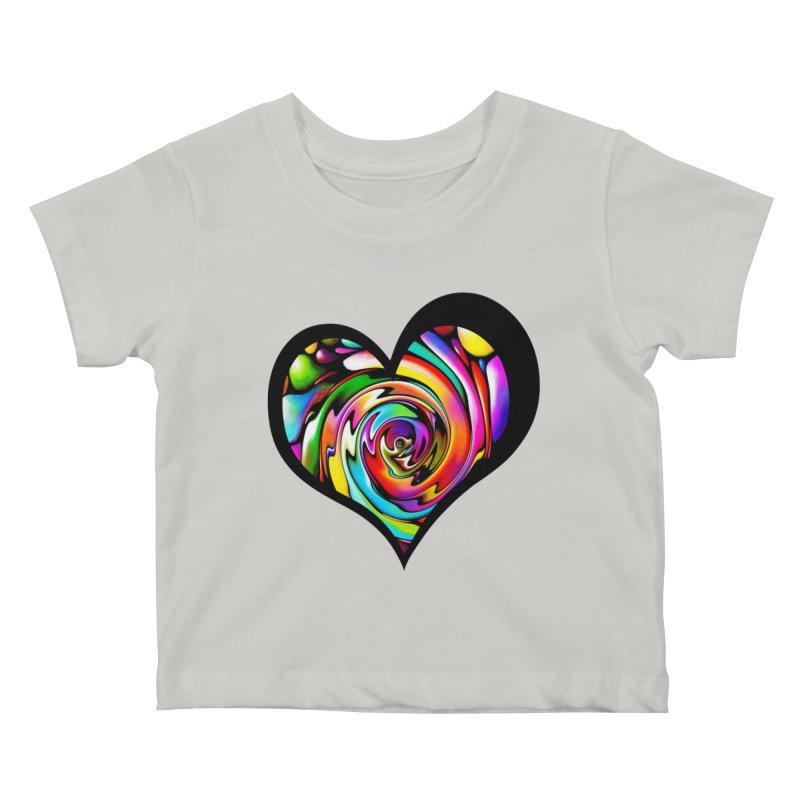 Rainbow Heart Swirl Kids Baby T-Shirt by Allison Low Art