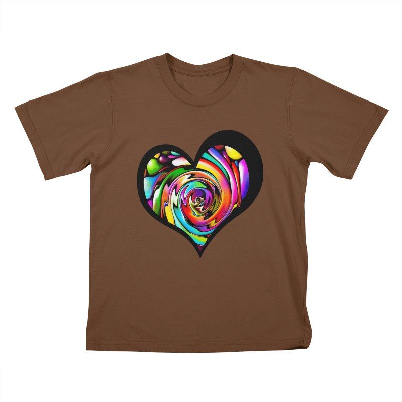 Rainbow Heart Swirl Kids T-Shirt by Allison Low Art