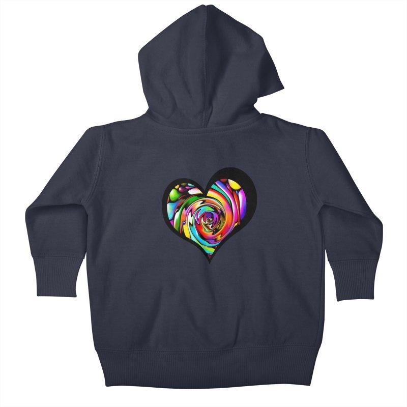 Rainbow Heart Swirl Kids Baby Zip-Up Hoody by Allison Low Art