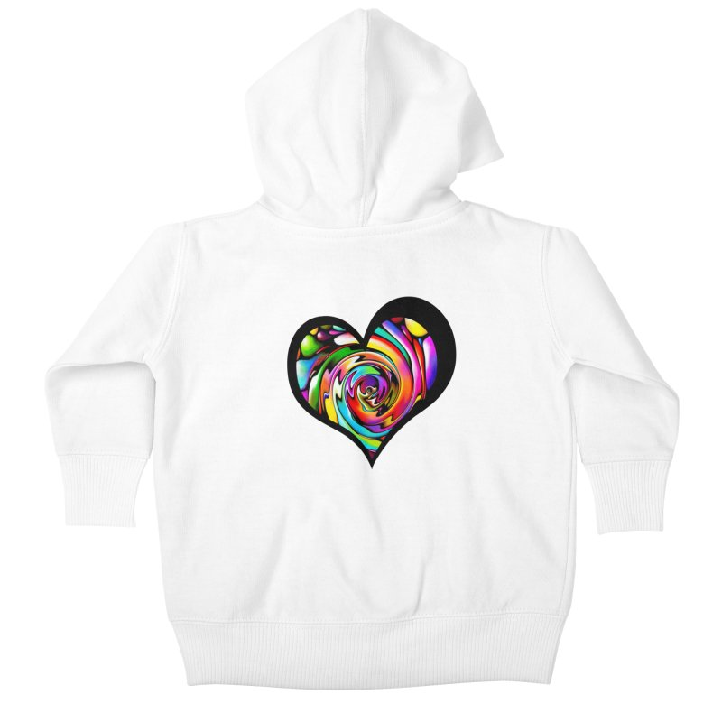 Rainbow Heart Swirl Kids Baby Zip-Up Hoody by Allison Low Art