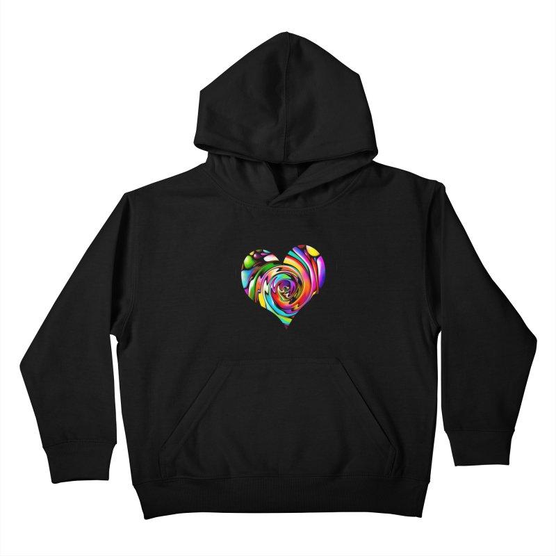 Rainbow Heart Swirl Kids Pullover Hoody by Allison Low Art
