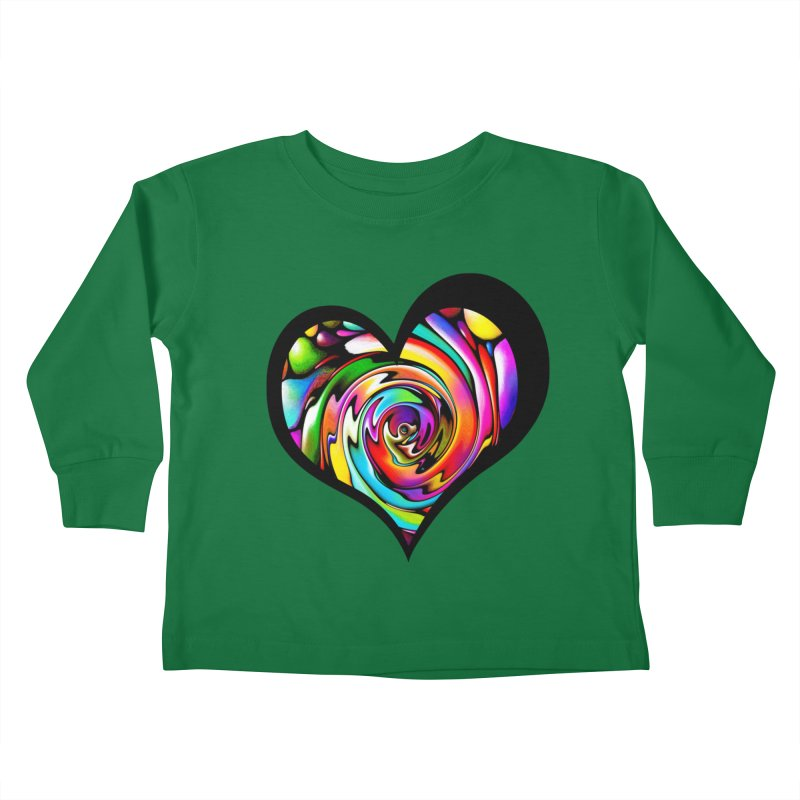 Rainbow Heart Swirl Kids Toddler Longsleeve T-Shirt by Allison Low Art