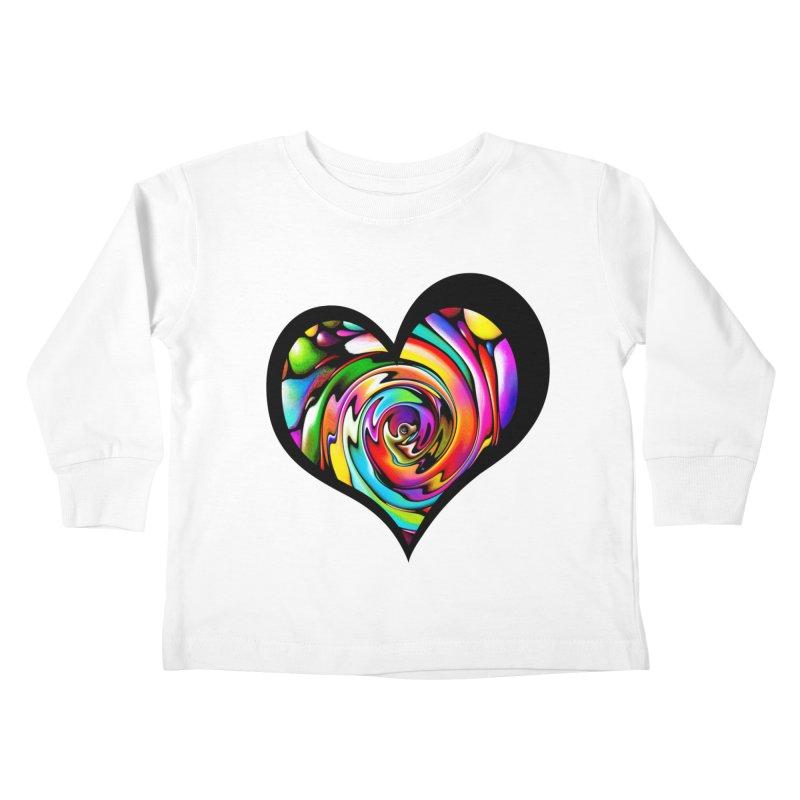 Rainbow Heart Swirl Kids Toddler Longsleeve T-Shirt by Allison Low Art