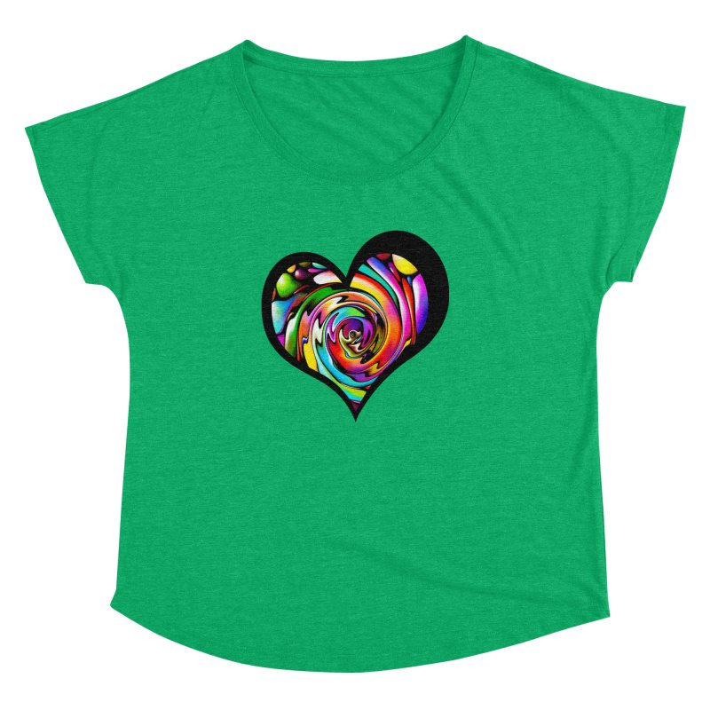 Rainbow Heart Swirl Women's Dolman by Allison Low Art