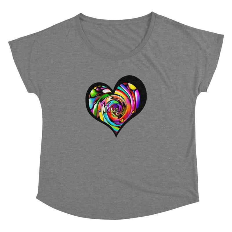 Rainbow Heart Swirl Women's Dolman Scoop Neck by Allison Low Art