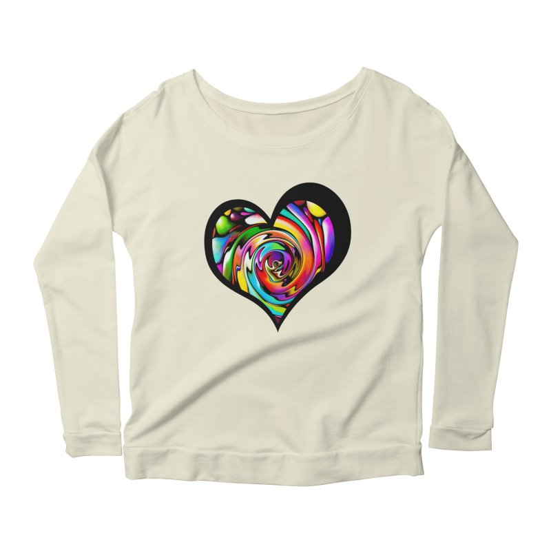 Rainbow Heart Swirl Women's Longsleeve Scoopneck  by Allison Low Art