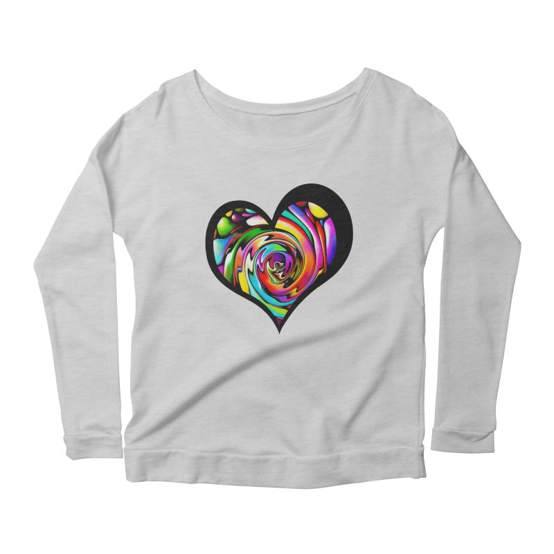 Rainbow Heart Swirl Women's Longsleeve Scoopneck  by Allison Low Art