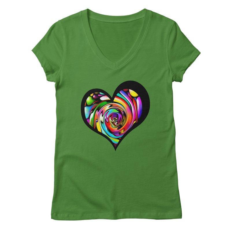 Rainbow Heart Swirl Women's V-Neck by Allison Low Art