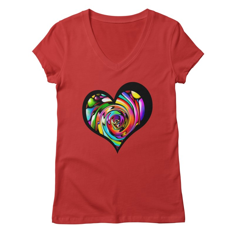 Rainbow Heart Swirl Women's V-Neck by Allison Low Art