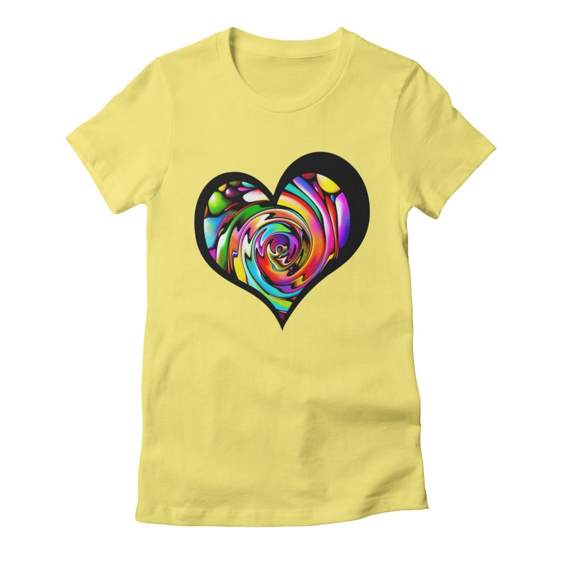 Rainbow Heart Swirl Women's Fitted T-Shirt by Allison Low Art