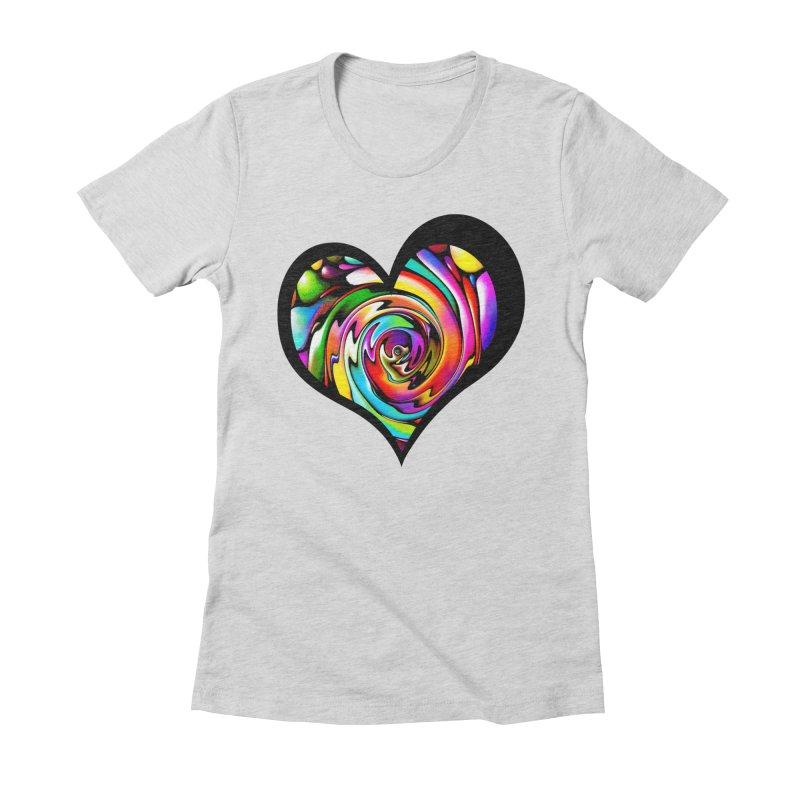 Rainbow Heart Swirl Women's Fitted T-Shirt by Allison Low Art