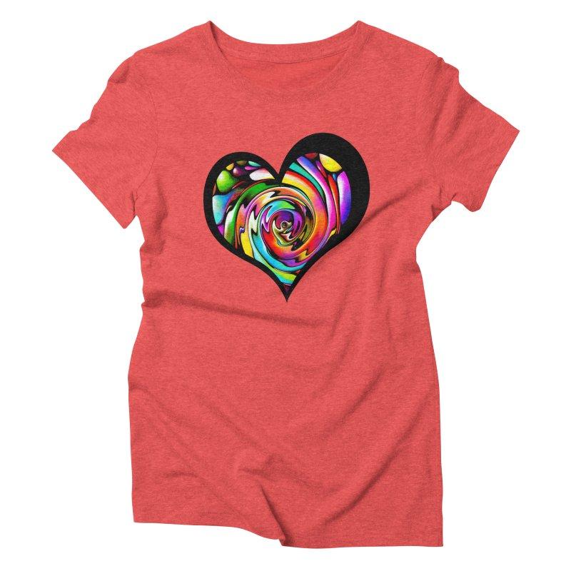 Rainbow Heart Swirl Women's Triblend T-Shirt by Allison Low Art