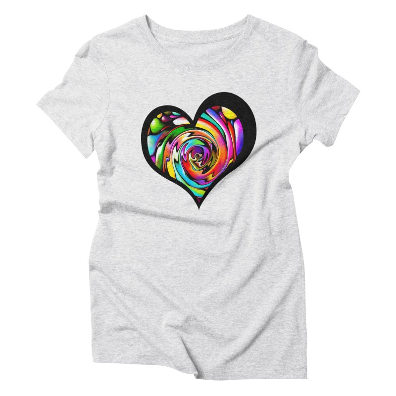 Rainbow Heart Swirl Women's Triblend T-Shirt by Allison Low Art