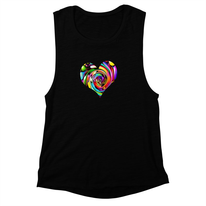 Rainbow Heart Swirl Women's Muscle Tank by Allison Low Art