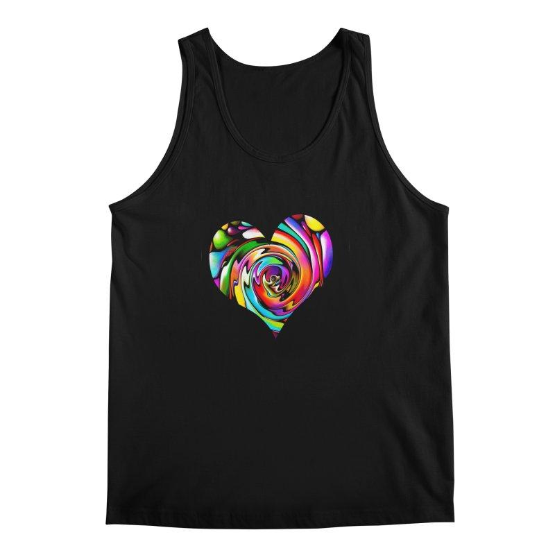 Rainbow Heart Swirl Men's Regular Tank by Allison Low Art