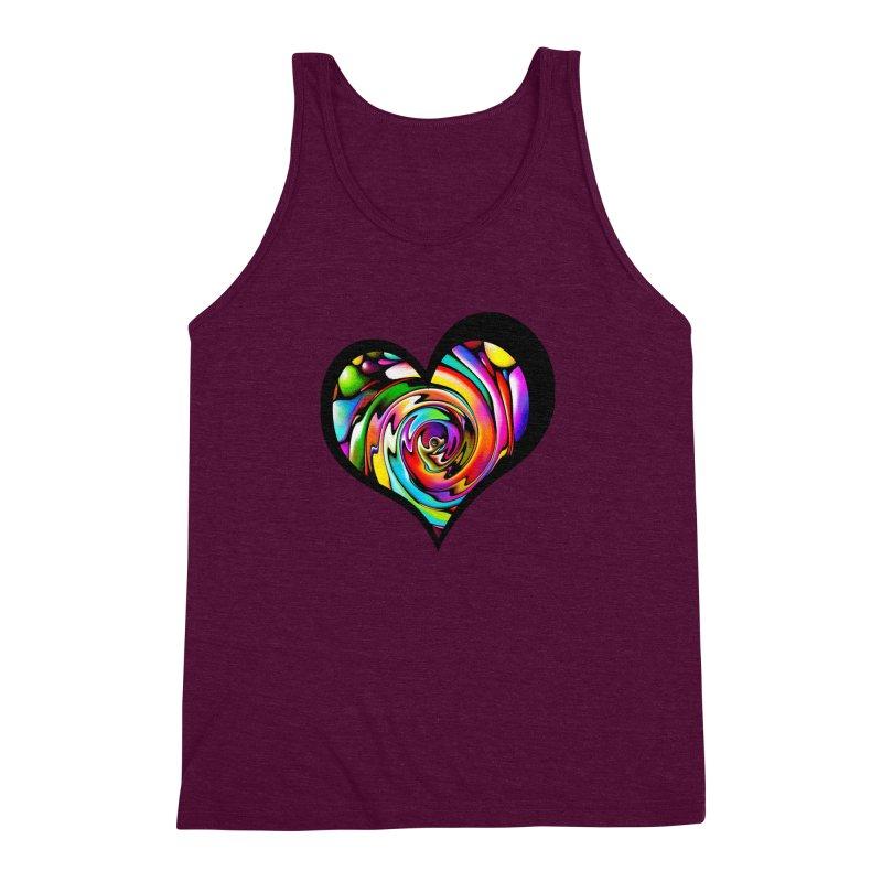 Rainbow Heart Swirl Men's Triblend Tank by Allison Low Art