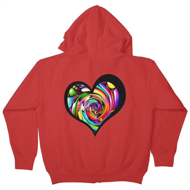 Rainbow Heart Swirl Kids Zip-Up Hoody by Allison Low Art