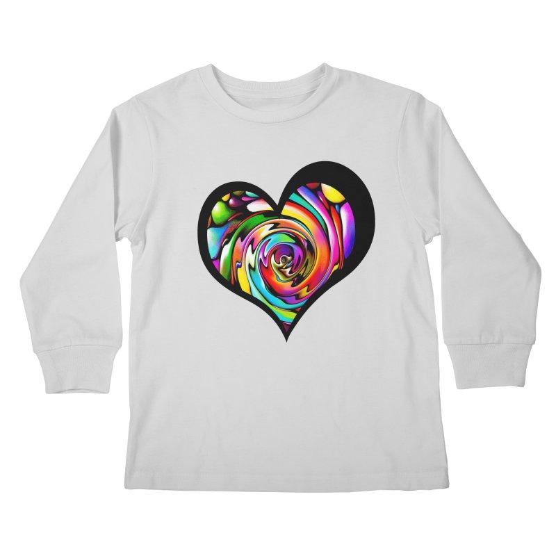 Rainbow Heart Swirl Kids Longsleeve T-Shirt by Allison Low Art