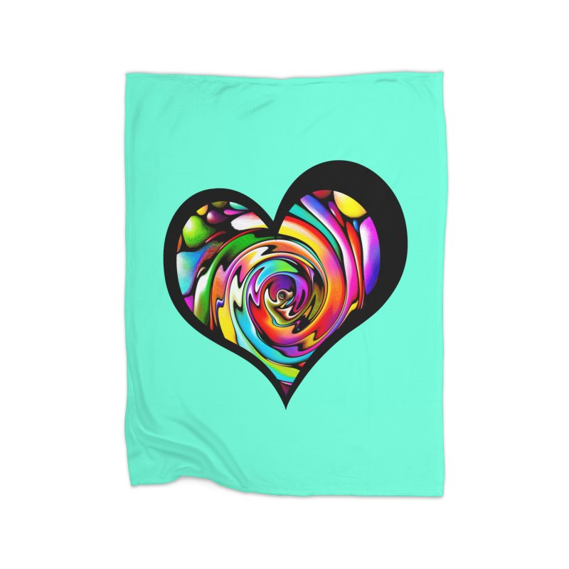 Rainbow Heart Swirl Home Blanket by Allison Low Art