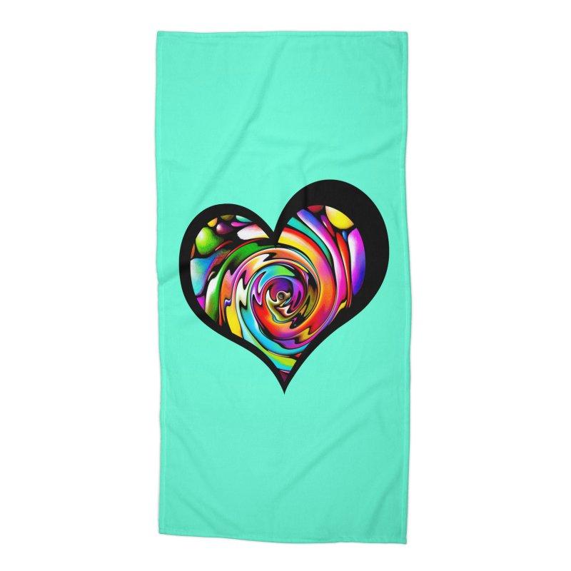 Rainbow Heart Swirl Accessories Beach Towel by Allison Low Art