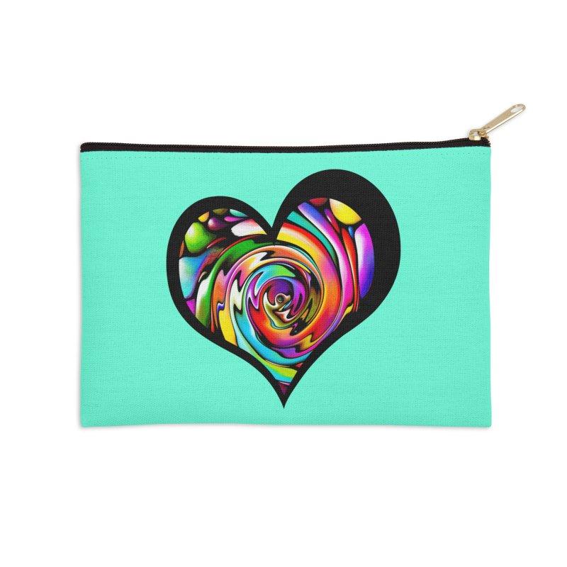 Rainbow Heart Swirl Accessories Zip Pouch by Allison Low Art