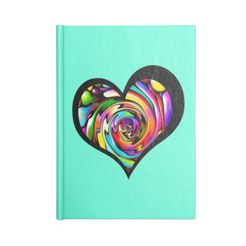 Rainbow Heart Swirl Accessories Notebook by Allison Low Art