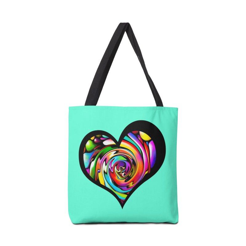 Rainbow Heart Swirl Accessories Bag by Allison Low Art