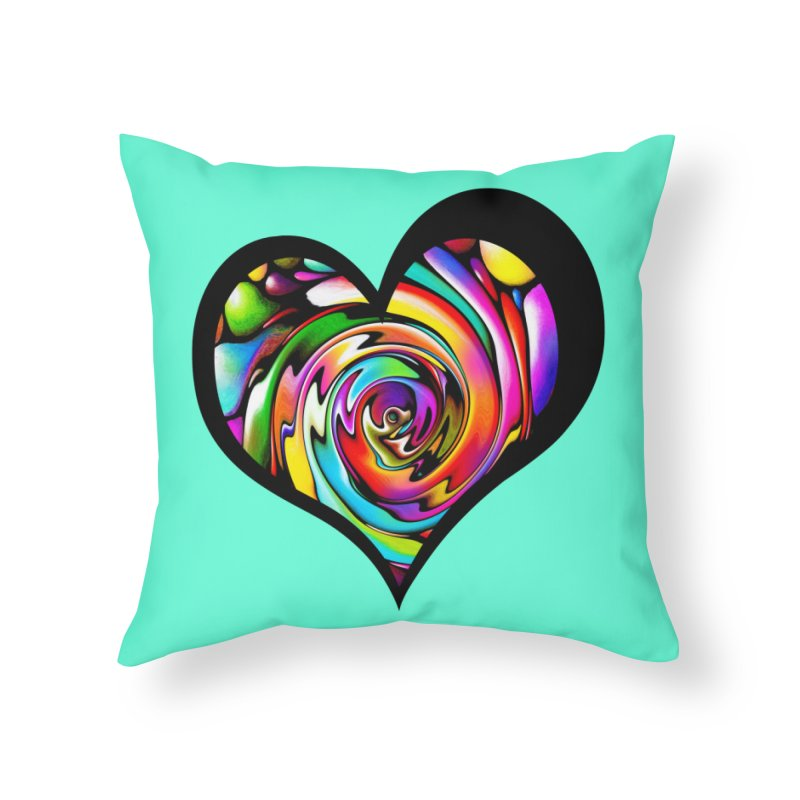 Rainbow Heart Swirl Home Throw Pillow by Allison Low Art