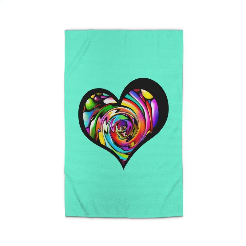 Rainbow Heart Swirl Home Rug by Allison Low Art