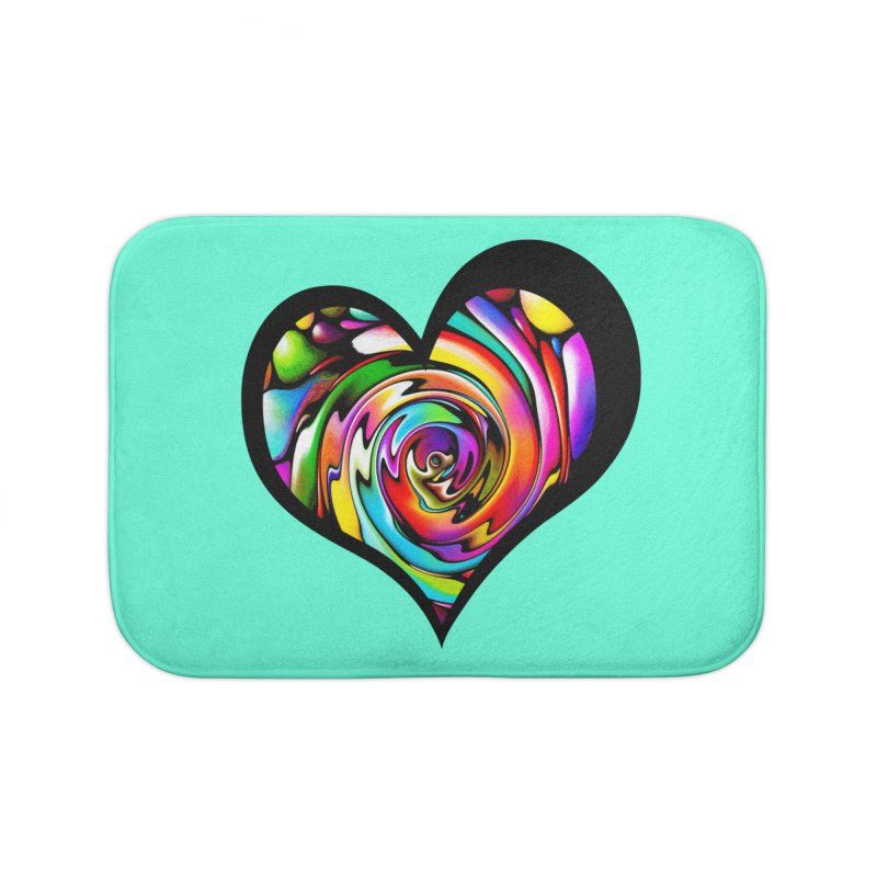 Rainbow Heart Swirl Home Bath Mat by Allison Low Art
